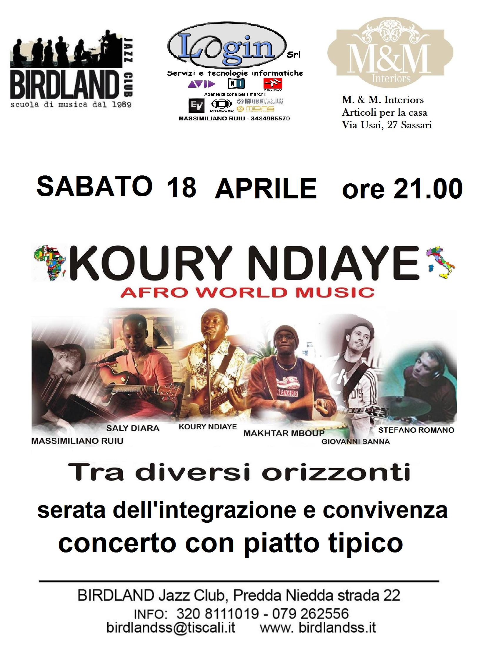 Sabato 18 aprile ore koury ndiaye afro world music for Piatto tipico romano